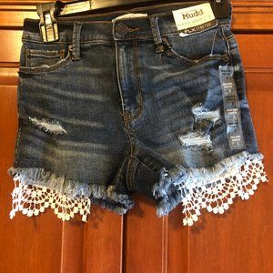 Mudd Jean Shorts With Lace Hem Size 3 NWT